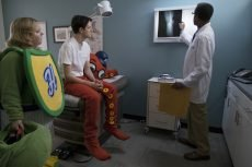 Sarah Baker and Zach Woods in 'Mascots,' directed by Christopher Guest
