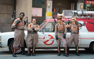 Leslie Jones, Melissa McCarthy, Kristen Wiig, and Kate McKinnon in the 2016 'Ghostbusters'
