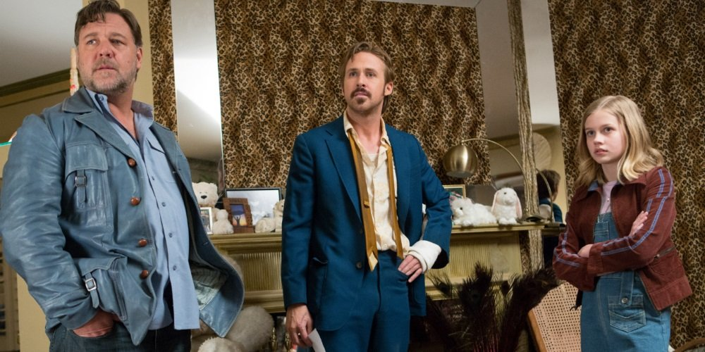 Russell Crowe, Ryan Gosling, and Angourie Rice in Shane Black's 'The Nice Guys'