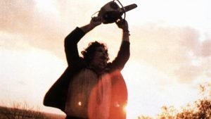 Gunnar Hansen with leatherface and chainsaw in Tobe Hooper's original 'The Texas Chainsaw Massacre'