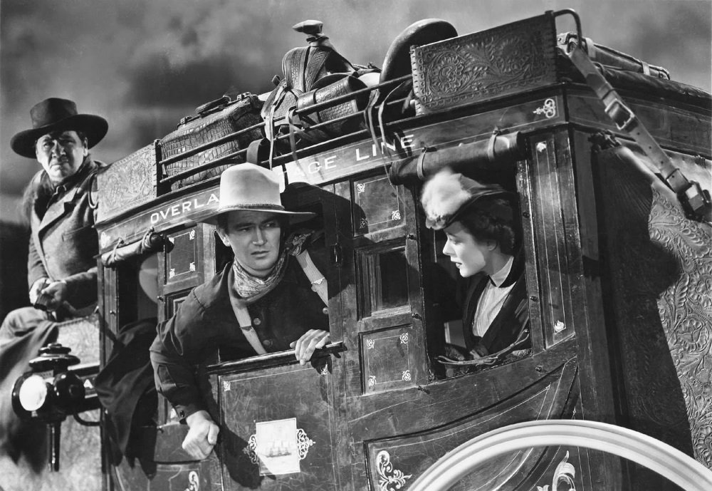 John Wayne , Claire Trevor, Thomas Mitchell, John Carradine, Donald Meek, Louise Platt, directed by John Ford