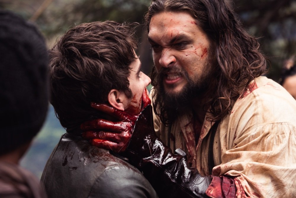 "Landon Liboiron and Jason Momoa in ""Frontier."""