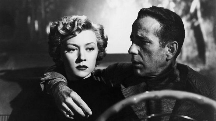 Humphrey Bogart and Gloria Grahame star, Nicholas Ray directs from the Dorothy B. Hughes novel