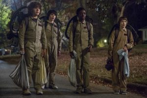 Gaten Matarazzo, Finn Wolfhard, Caleb McLaughlin, and Noah Schnapp in the second of Netflix's Stranger Things
