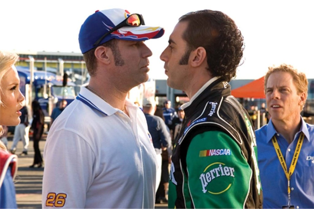 Will Ferrell and Sacha Baron Cohen in the NASCAR culture comedy directed by Adam McKay