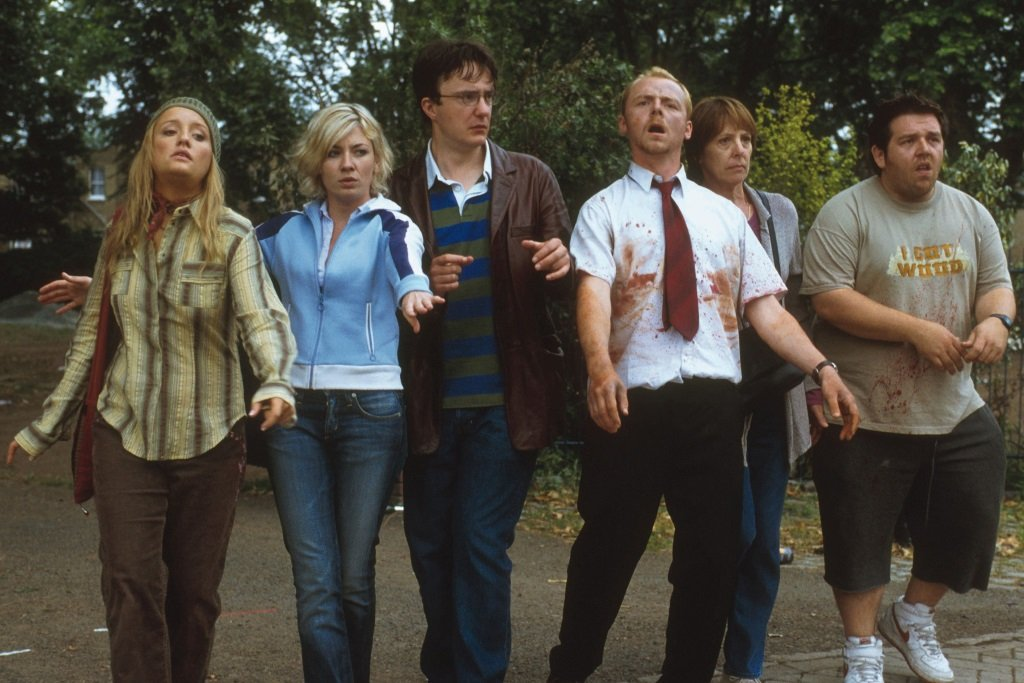 Lucy Davis, Kate Ashfield, Dylan Moran, Simon Pegg, Penelope Wilton, and Nick Frost in the film by Edgar Wright