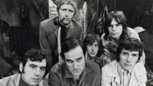 Terry Jones, Graham Chapman, John Cleese, Eric Idle, Terry Gilliam, and Michael Palin in a promotional photo for Monty Python's Flying Circus